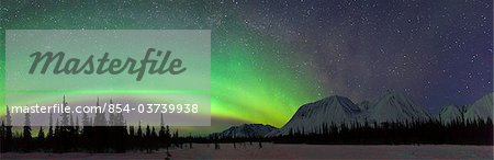 View of Northern Lights over the foothills of the Alaska Range in Broad Pass, Southcentral Alaska, Winter Stock Photo - Rights-Managed, Image code: 854-03739938
