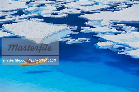 Female kayaker navigates through a melt pond in the Juneau /nIcefield, Coast Mountains, Tongass National Forest, Southeast Alaska, Summer Stock Photo - Rights-Managed, Image code: 854-03845109