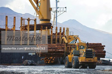 View of log ship being loaded with Sitka Spruce from Chiniak and Sequel Point at LASH dock in Women's Bay, Kodiak Island, Southwest Alaska, Autumn Stock Photo - Rights-Managed, Image code: 854-03845263