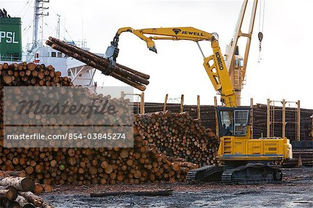 View of log ship being loaded with Sitka Spruce from Chiniak and Sequel Point at LASH dock in Women's Bay, Kodiak Island, Southwest Alaska, Autumn Stock Photo - Rights-Managed, Image code: 854-03845274