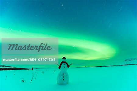 Digitally Altered,Snowman watching Northern Lights, Winter, Eureka Summit, Glenn Highway, Southcentral Alaska Stock Photo - Rights-Managed, Image code: 854-05974305