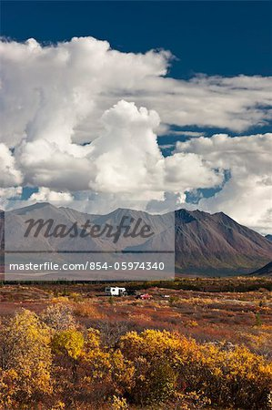 Hunters in a motorhome park and camp next to the Denali Highway during hunting season, Interior Alaska, Autumn Stock Photo - Rights-Managed, Image code: 854-05974340