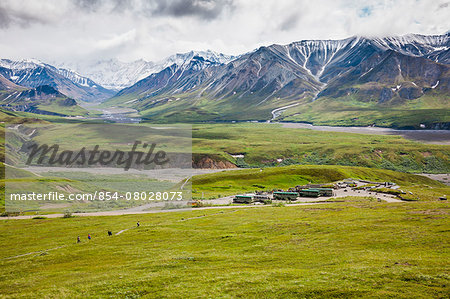 View Of Eielson Visitor's Center From A Vantage Point Above On Mount Eielson Denali National Park; Alaska United States Of America Stock Photo - Rights-Managed, Image code: 854-08028073