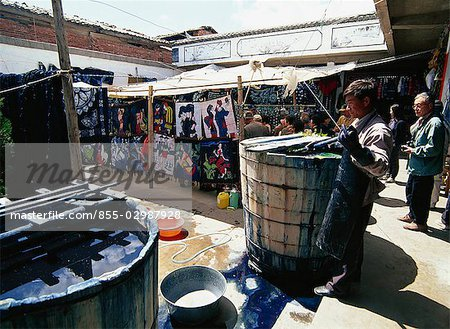 Dark Blue dye factory in Dali, Yunnan, China Stock Photo - Rights-Managed, Image code: 855-02987928