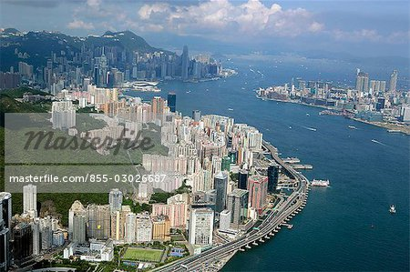 Aerial view of North Point overlooking Victoria Harbour,Hong Kong Stock Photo - Rights-Managed, Image code: 855-03026687