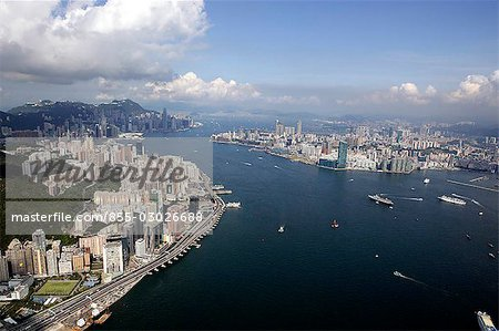 Aerial view of North Point overlooking Victoria Harbour,Hong Kong Stock Photo - Rights-Managed, Image code: 855-03026688
