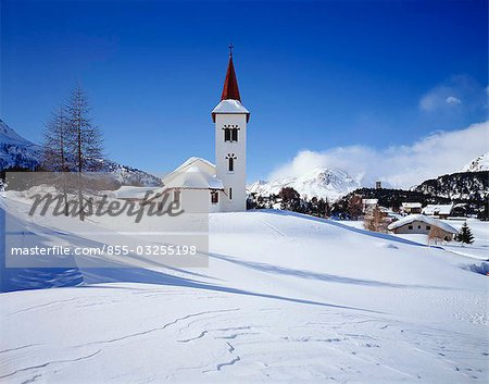 Town church, Grindelwald, Switzerland Stock Photo - Rights-Managed, Image code: 855-03255198