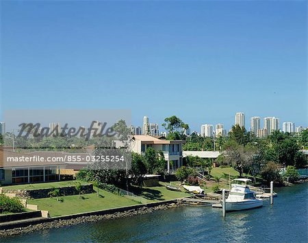 City skyline by the canal, Gold Coast, Australia Stock Photo - Rights-Managed, Image code: 855-03255254