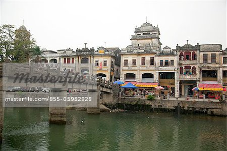 Qilou buildings and Tanjiang River, Historic town of Chika, Kaiping, Guangdong Province, China