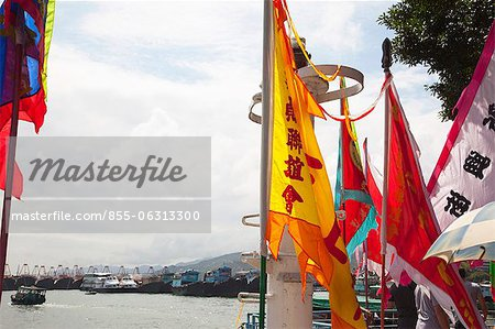 Banners celebrating the Bun Festival, Cheung Chau, Hong Kong Stock Photo - Rights-Managed, Image code: 855-06313300