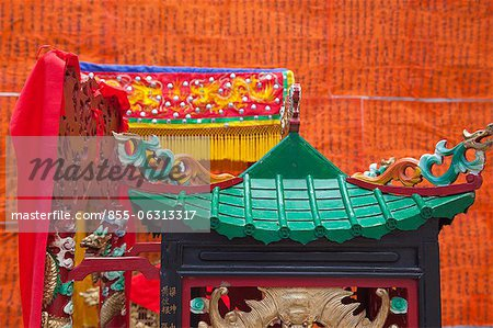 Sponsors list for the Bun festival hoisted at front of Pak Tai Temple, Cheung Chau, Hong Kong Stock Photo - Rights-Managed, Image code: 855-06313317