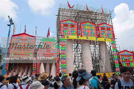 Bun towers for the Bun Festival, Cheung Chau, Hong Kong Stock Photo - Rights-Managed, Image code: 855-06313347