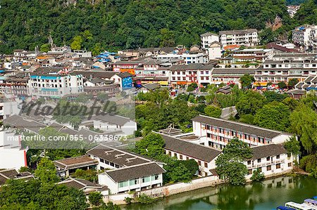 Townscape from Xilang Hill, Yangshuo, Guilin, China Stock Photo - Rights-Managed, Image code: 855-06338673