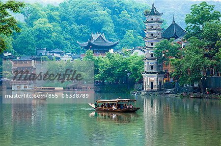 Tuo River and the scene of Phoenix old town, Zhangjiazie, Hunan, China Stock Photo - Rights-Managed, Image code: 855-06338789