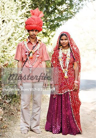 Portrait of a bridegroom with his bride, Udaipur, Rajasthan, India Stock Photo - Rights-Managed, Image code: 857-03553548