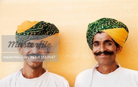 Portrait of two men smiling in a fort, Meherangarh Fort, Jodhpur, Rajasthan, India Stock Photo - Rights-Managed, Image code: 857-03553567