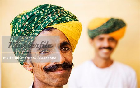 Portrait of two men smiling in a fort, Meherangarh Fort, Jodhpur, Rajasthan, India Stock Photo - Rights-Managed, Image code: 857-03553568
