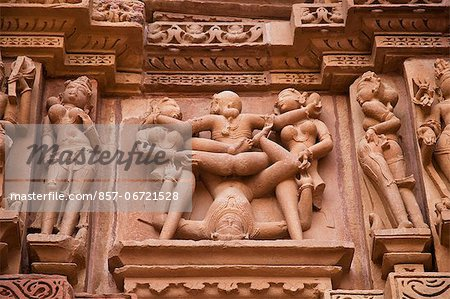 Close-up of erotic carvings at a temple, Lakshmana Temple, Khajuraho, Chhatarpur District, Madhya Pradesh, India Stock Photo - Rights-Managed, Image code: 857-06721528
