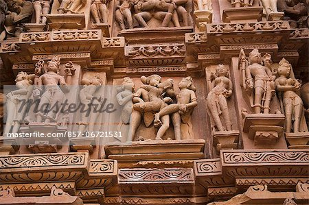 Details of erotic carvings at a temple, Lakshmana Temple, Khajuraho, Chhatarpur District, Madhya Pradesh, India Stock Photo - Rights-Managed, Image code: 857-06721531