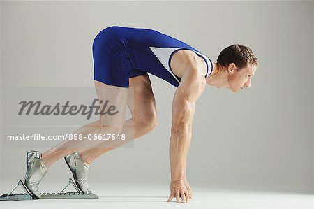 Athlete Ready To Run Stock Photo - Rights-Managed, Image code: 858-06617648