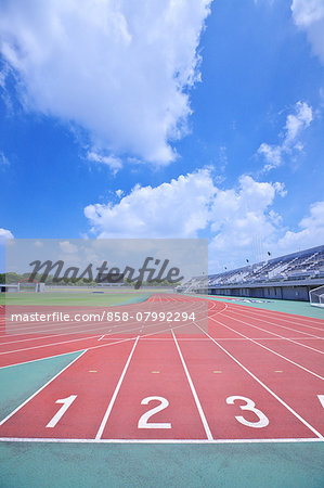 Running track at athletics stadium Stock Photo - Rights-Managed, Image code: 858-07992294