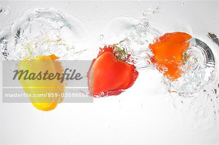 Paprika Splashing In To Water Stock Photo - Rights-Managed, Image code: 859-03598686