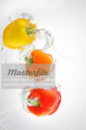 Paprika Splashing In To Water Stock Photo - Rights-Managed, Image code: 859-03598688