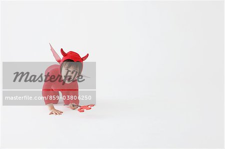 3 Year Boy Dressed Up As Devil Stock Photo - Rights-Managed, Image code: 859-03806250