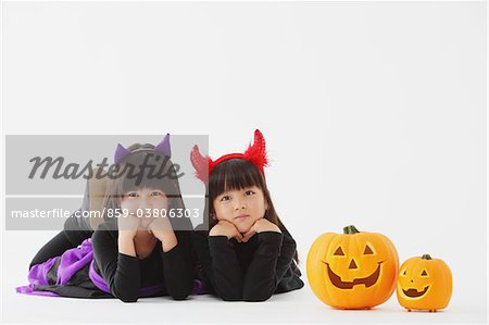 Two Girl Dressed In Halloween Costume Stock Photo - Rights-Managed, Image code: 859-03806303