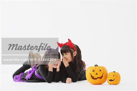 Two Girl Dressed In Halloween Costume Stock Photo - Rights-Managed, Image code: 859-03806304