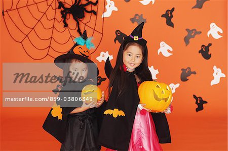 Two Girls in Costume for Halloween Stock Photo - Rights-Managed, Image code: 859-03806349