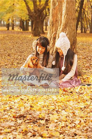 Girls Holding Dog In Leaves Stock Photo - Rights-Managed, Image code: 859-03839402