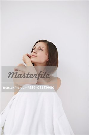 Beautiful Young Woman Looking Up Stock Photo - Rights-Managed, Image code: 859-03839980