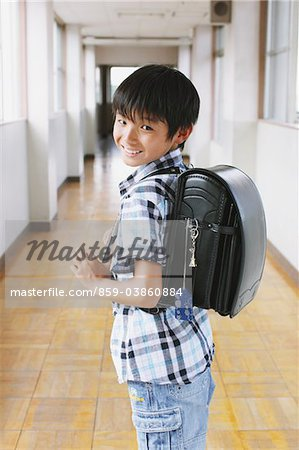 Schoolboy With School Bag Stock Photo - Rights-Managed, Image code: 859-03860884