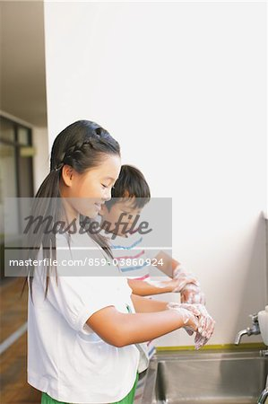 Children Cleaning Hand Stock Photo - Rights-Managed, Image code: 859-03860924