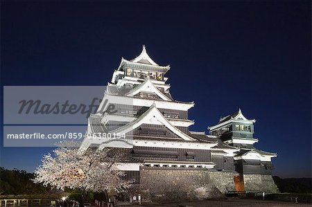 Night View Of Cherry Blossoms, Kumamoto Castle, Kyushu, Japan Stock Photo - Rights-Managed, Image code: 859-06380154