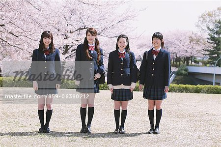 Cherry Blossoms And High School Girls Stock Photo - Rights-Managed, Image code: 859-06380212