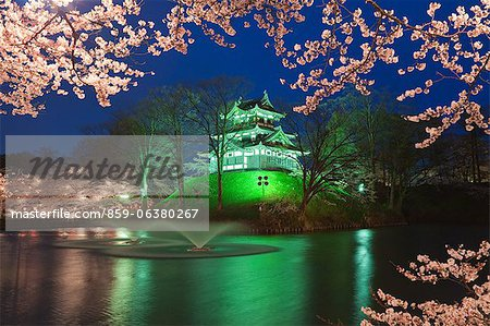 Yozakura,Takada Castle, Niigata Prefecture, Japan Stock Photo - Rights-Managed, Image code: 859-06380267