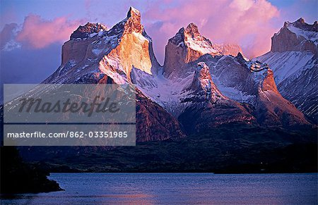 Paine Massif at dawn,seen across Lago Pehoe,Torres del Paine National Park,Chile. Stock Photo - Rights-Managed, Image code: 862-03351985