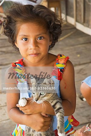 Peru,Amazon River. Indigenous Indian girl in the village of Islandia. Stock Photo - Rights-Managed, Image code: 862-03360630