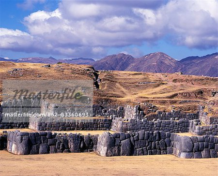 Massive walls of Sacsayhuaman overlooking Cusco. Stock Photo - Rights-Managed, Image code: 862-03360693