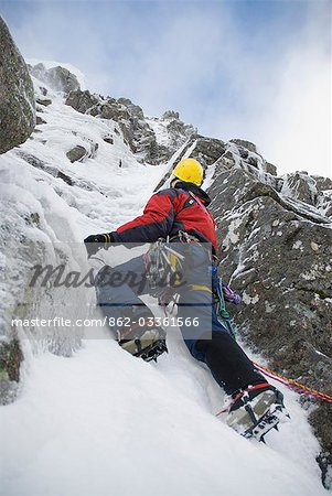 Scotland,Scottish Highlands,Glencoe. Ice Climbing on the cliffs of Aonach Mor. Stock Photo - Rights-Managed, Image code: 862-03361566