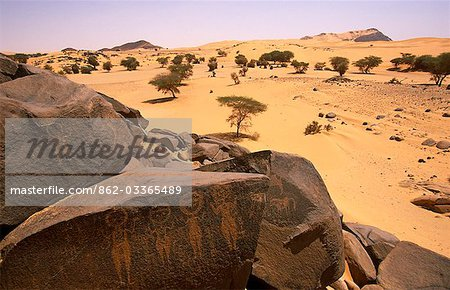 Niger,Tenere Desert. Rock Art thought to be 30,000 years old found near the Oasis of Tezizet. Stock Photo - Rights-Managed, Image code: 862-03365489