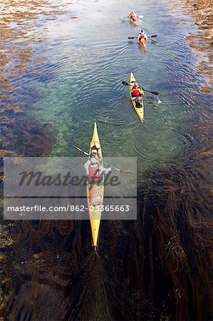 Norway,Nordland,Helgeland. Sea kayaking viewed from above. Stock Photo - Rights-Managed, Image code: 862-03365663