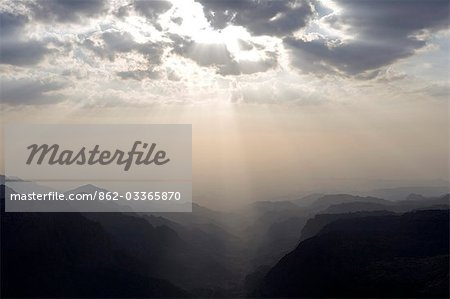 Jordan,Petra Region,Dana Valley. Near the small village of Dana,the spectacular view down the Wadi Dana towards the Arava Valley and the Isreali Border. Stock Photo - Rights-Managed, Image code: 862-03365870