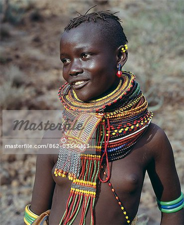 A young Turkana girl adorned with necklaces of a style the Southern Turkana prefer to wear. Stock Photo - Rights-Managed, Image code: 862-03366113