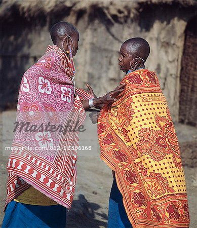 Two Maasai women deep in conversation. Stock Photo - Rights-Managed, Image code: 862-03366168
