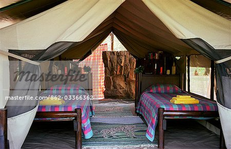 Kitich Camp - Guest tent bedroom with en suite bathroom tent Stock Photo - Rights-Managed, Image code: 862-03366362