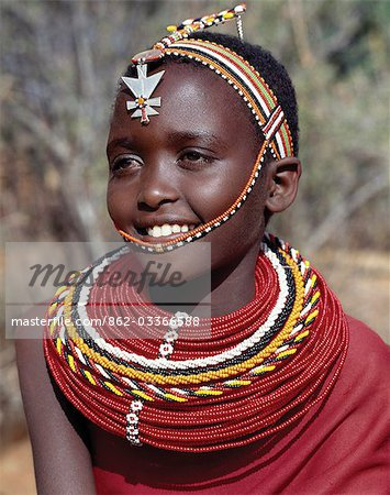 A pretty Samburu girl in traditional attire. Stock Photo - Rights-Managed, Image code: 862-03366588