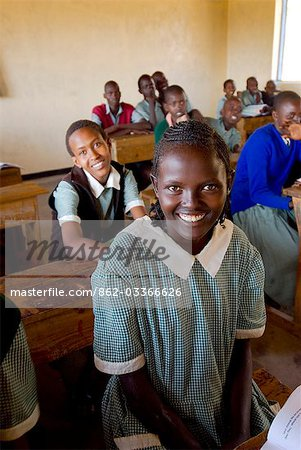 A young student in her classsroom at the local school,Lewa Conservancy,Kenya Stock Photo - Rights-Managed, Image code: 862-03366626